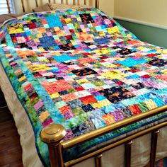 Twin Bed Quilt, Batik Fabric Quilt, Colorful Bedding, Bright Couch Throw, Blue Batik Lap Quilt by DarBieStitches on Etsy