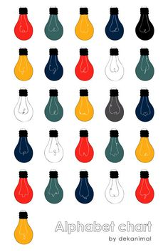 Alphabet Poster Light Bulbs illustration Love Wedding by dekanimal, $18.00