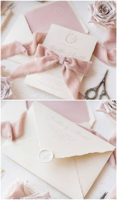 Another adorable finishing touch you can DIY on your wedding invitations is the addition of a ribbon or bow. It's a really clever way to incorporate your wedding colour scheme or theme in the invitation without it looking too over the top – unless that's the look you're going for, of course. #weddinginvitations #weddinginvites #diy #diywedding #diyideas #invitation #wedding #weddingideas #weddinginspiration #rustic #homemade #ribbon