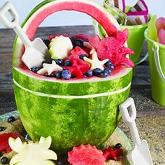 #Watermelon basket/bowl carving. Inspiration. Beach bucket/pail, shovel, crabs, stars. Fruit salad. #Summer #recipe #treat