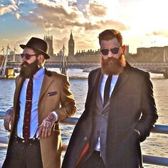 Ricki Hall & Ty Moorg - full thick beards and mustaches beard bearded man men mens' style suit and tie suits ties dark and ginger redhead tattoos tattooed model models fashion #beardsunited #sharpdressedman #beardsforever