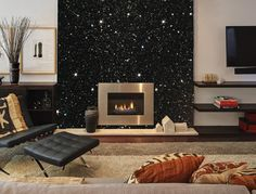 This is what our Black Glitter wallcovering looks like on a chimney breast. Approx 5 metres of Glitter would cover this area. £195.00