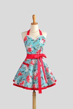 Sweetheart Retro Apron / Flirty Retro Womens Apron Turquoise Red and White in Flea Market Fancy