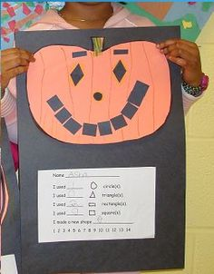 creating a jack-o'-lantern with shapes: http://www.learningliftoff.com/18-educational-halloween-kids-crafts/