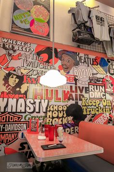 Painted retro wall mural at Big Daddy's in New York City from @FunkyJunkDonna. Atmosphere so good it eclipses the food!