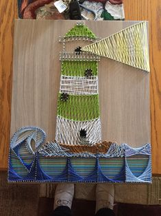 Didn't turn out how I wanted but my lighthouse string art