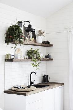 3 boutique Australian hotels with gorgeous interiors- A rustic kitchenette with timber benches and indoor plants at The Bower Byron Bay Little Kitchen, New Kitchen, Kitchen Decor, Kitchen Ideas, Cheap Kitchen, Kitchen Inspiration, Kitchen Plants, Copper Kitchen, Exterior Wall Light