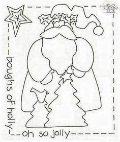 desenho papai noel estilo country para pintar