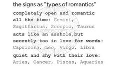 The signs types of romantics Virgo Moon Sign, Gemini And Sagittarius, Virgo And Cancer, Gemini Quotes, Gemini Facts, Pisces Zodiac, Aquarius, Zodiac Memes, Zodiac Quotes