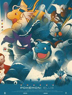 Stylized Pokemon Blue Poster
