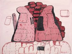Philip Guston - Cornered 1971  Oil paint on paper on board  Dimensions - 769 x 1017  Collection - Tate