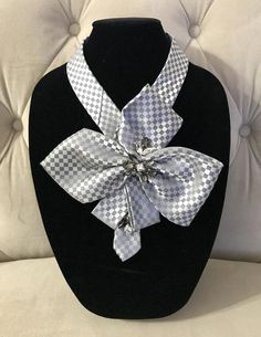 Necktie Necklace by AdornBeadingDesigns on Etsy Tie Crafts, Sewing Crafts, Sewing Projects, Scarf Jewelry, Fabric Jewelry, Old Ties, Diy Scarf, Mens Silk Ties, Bijoux Diy