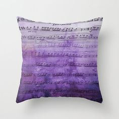 Sheet Music Throw Pillow watercolor purple   by ArtfullyFeathered