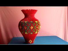 How to make origami vase - làm lọ hoa origami 3d Origami Heart, Origami 3d, Origami And Quilling, Modular Origami, Origami Paper, Oragami, Diy And Crafts, Arts And Crafts, Paper Crafts