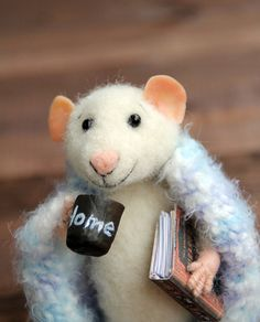 needle felt home mouse in a blanket with cap by HouseOFFeltMouse