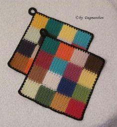 Crochet Granny, Diy Crochet, Crochet Crafts, Crochet Hot Pads, Crazy Hats, Granny Square Blanket, Crochet Kitchen, Tea Cozy, Knitted Blankets