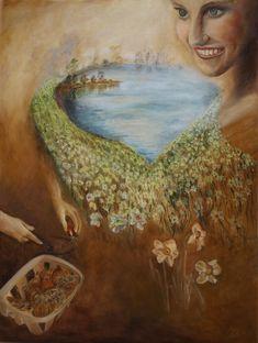 Corona walkway, oil painting by Ildikó Mecséri #art #covid #flower #daffodil #IldikoMecseri #painting Coron, Modern Art, Paintings, Handmade, Hand Made, Painting Art, Painting, Craft, Contemporary Art