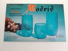 Vintage Mid Century Advertising Postcard for Anchor Hocking Blue Madrid Glasses - Eames / Atomic Era