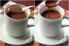Spanish Hot Chocolate using real dark chocolate and almond milk. Yum! We suggest using Unsweetened Almond Breeze.
