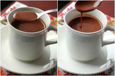 Spanish Hot Chocolate using real dark chocolate and almond milk. Yum! We suggest using Unsweetened Almond Breeze.
