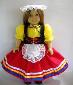 """Fits 18"""" American Girl doll Italy Italian folk dress clothes N COSTUME ONLY"""