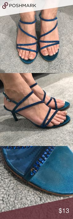 VALERIE STEVENS Blue Heels Gently 💕used, missing one stone on the left shoe (shown in pic) perfect for bridesmaids, prom, or dinner parties • smoke/pet free home •feel free to bundle please :) Valerie Stevens Shoes Heels