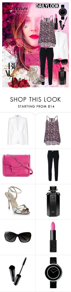 """""""Spring Colors: White & Fucsia"""" by mildred-paz ❤ liked on Polyvore featuring Alexander McQueen, MICHAEL Michael Kors, Manolo Blahnik, Gucci, NARS Cosmetics, Shiseido, Georg Jensen and Love Quotes Scarves"""