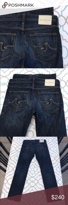 """NWOT💙👖Gorgeous AG Jeans👖💙31 11/12 32 Dark Blue Like New💙👖Gorgeous AG Jeans👖💙 New Without Tags!!! Match Box! Slim Straight! AG! Adriano Goldschmied! Size 31 (11/12). 32"""" Inseam. 9.75"""" Rise. 16"""" Across Back. Awesome Stretch. Dark Blue Wash. Medium Heavy Fading. Big Beautiful White Back Patch. Hemmed. No Signs of Wear. Absolutely Beautiful!!! Priced Accordingly!!! LOVE! AG! Anthro! Anthropologie! : ) AG Adriano Goldschmied Jeans Straight Leg"""