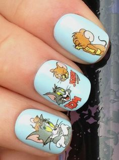 NAIL ART WRAP WATER STICKER TRANSFERS DECALS TOM & JERRY FIGURES/FACES #464