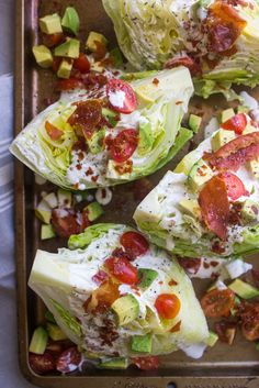 California Wedge Salad with Prosciutto Crumbles and Buttermilk Ranch Dressing Little Broken, Steakhouse Style Wedge Salad Dash of Savory . Healthy Salads, Healthy Eating, Healthy Recipes, Keto Recipes, Wine Recipes, Salad Recipes, Cooking Recipes, Buttermilk Ranch Dressing, Wedge Salad
