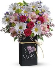 Mothers Day bouquet of daisy spray mums, rose sprays, button mums and asters. My Flower, Flower Vases, Flower Pots, Thank You Flowers, Mothers Day Flowers, Inexpensive Flower Arrangements, Floral Arrangements, Fake Flowers, Amazing Flowers