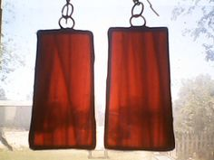 Stained glass earrings made of copper and red opalescent glass, Tiffany style, handmade earrings, studio art jewelry by GabrielStudiosArt on Etsy