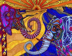 the elephants - creative psychedelic art Colorful Elephant, Elephant Love, Elephant Artwork, Elephant Images, Elephant Tapestry, Elephant Design, Psychedelic Art, Elephants Never Forget, Psy Art