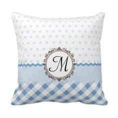 polka dots, gingham checks, and a ricrac center st throw pillows Monogram Pillows, Custom Pillows, Decorative Pillows, Navy Bedrooms, Modern Pillows, Gingham Check, Blue Polka Dots, Pillow Design, Bed Pillows