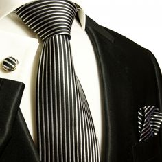 Black and White Striped Paul Malone Silk Tie Set (408CH)