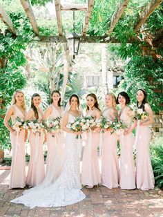 This gorgeous rosey wedding at Belmond El Encanto in Santa Barbara was beautifully designed by Velvet  Blooms with floral bouquets of pink, white, blush and rose. From tablescapes to wedding flowers on archways and in bridal bouquets, this color scheme was perfect. Velvet Blooms | Wedding Bridesmaid Poses, Neutral Bridesmaid Dresses, Brides And Bridesmaids, Winter Wedding Flowers, Wedding Colors, Wedding Styles, Wedding Trends, Wedding Ideas, Bridesmaid Inspiration