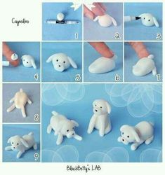 How to make a sugar paste / fondant dog Polymer Clay Animals, Polymer Clay Crafts, Diy Clay, Fondant Toppers, Fondant Cakes, Fondant Baby, Cupcake Toppers, Sugar Paste, Gum Paste