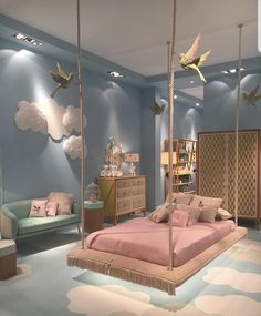 Cute Bedroom Design Ideas For Kids And Playful Spirits teenager zimmer mädchen schmetterlinge wand deko Cute Bedroom Ideas, Girl Bedroom Designs, Awesome Bedrooms, Cool Rooms, Bedroom Themes, Bed Designs, Kids Bedroom Ideas For Girls, Design Bedroom, Teen Bedroom Colors