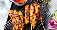 Chicken Satay Skewers (Sate Ayam) - The Happy Foodie Malaysian Satay Recipe, Malaysian Food, Sate Ayam, Chicken Satay Skewers, Malay Food, Menu, Cookies Et Biscuits, Cake Cookies, Asian Recipes