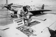 Un armurier du 99th FS recharge le P-51 Mustang