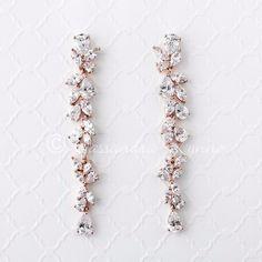 rose Gold Long Dangle Wedding Earrings