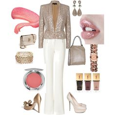 Day to night nude/white, created by smclarke on Polyvore. Love the jkt especially