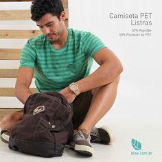 A camiseta de listras é perfeita para qualquer momento de lazer. Feita com 50% de algodão e 50% de poliéster de PET, além de ecológica, tem um toque macio. E o melhor de tudo, você pode usá-la com calça para um visual mais sério, ou com bermuda, para ir à praia, parque, ou em qualquer lugar!  Veja: www.bloe.com.br/camiseta-pet-listras-tom-sobre-tom-masculina-949.html  #bloe #bloedecaranova #bloenovosite #modaconsciente #modasustentavel #feitonobrasil