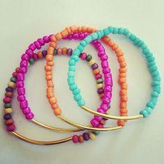 Siguenos Instagram & Facebook #zowiecreations #bracelets #pulseras ##multicolor #blue #orange #fucha #summer #playa #beach #ocean #gold #handmade #jewerly #pr
