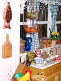 This dollhouse miniature kitchen is cluttered like a real kitchen!