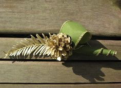 Nice Gold U0026 Green Wedding Boutonniere   Natural Lapel Pin With Scotch Pine Cone  And Redwood.