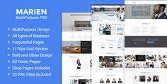 Marien ¨C MultiPurpose Business PSD Template by RJThemes  Marien ¨C MultiPurpose Business PSD Template: Marien is a Clean and Modern PSD Template. Especially designed for Corporate, Accoun