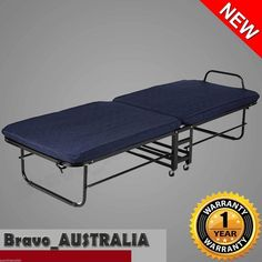 Portable Folding Bed Single Size Deluxe With Mattress U0026 Adjustable Headrest