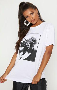 4947d4bc9 White Tupac Oversized T Shirt | Tops | PrettyLittleThing USA New Wardrobe,  Wardrobe Ideas,