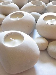 White Stone Tealight Candle Holders - Set of Six in Dolomite.